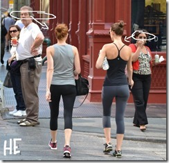 nyc streetstyle fashion by he two girls in gym clothes tight pants guys checking them out